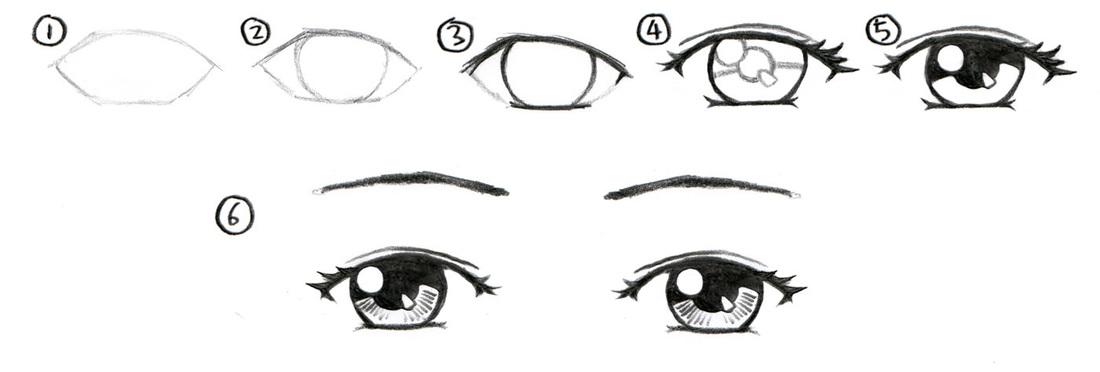 How to draw manga girl for beginners - step by step ... |How To Draw Anime Girl Eyes Step By Step For Beginners